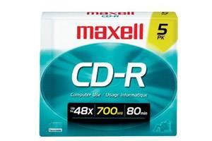 Maxell 648205 48x 80min 700MB Branded CD-R Media 5PK Slim Case