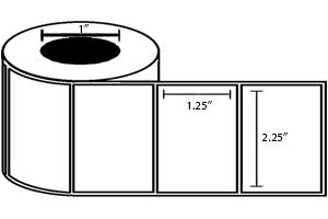 """Zebra DT Label (2.25"""" x 1.25"""") (1"""" Core) (2100/Roll) 12 Roll Case"""