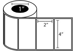 """Zebra TT Label, Polypro (4"""" x 2"""") (1"""" Core) 4 Roll Case"""