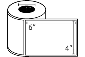 "Zebra TT Label, Paper (4"" x 6"") (1"" Core) 12 Roll Case"