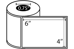 "Zebra DT Label, Paper (4"" x 6"") (0.75"" Core) 36 Roll Case"